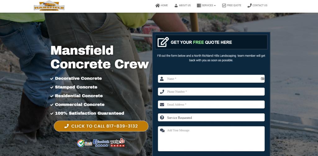 mansfield concrete crew